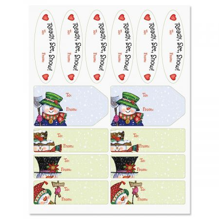Snowmen in Squares Gift Wrap To/From Labels