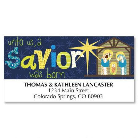 A Savior is Born Christmas Deluxe Address Labels