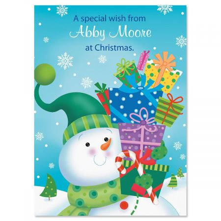 Snowman with Gifts Personalized Classic Christmas Cards - Set of 72