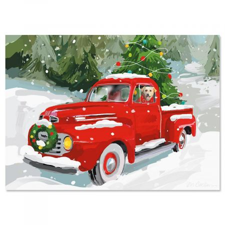 Red Truck Personalized Christmas Cards - Set of 18