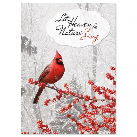 Winterberry Cardinal Personalized Christmas Cards - Set of 18