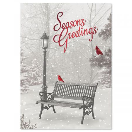 Snowfall Personalized Christmas Cards - Set of 56