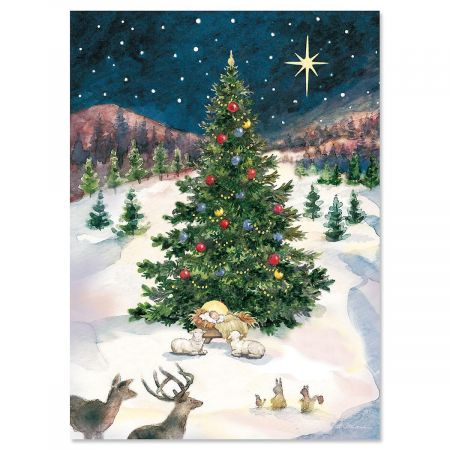 Christmas Tree with Manger Personalized Christmas Cards - Set of 18