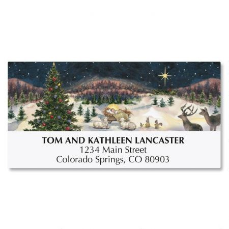 Christmas Tree with Manger Deluxe Address Labels