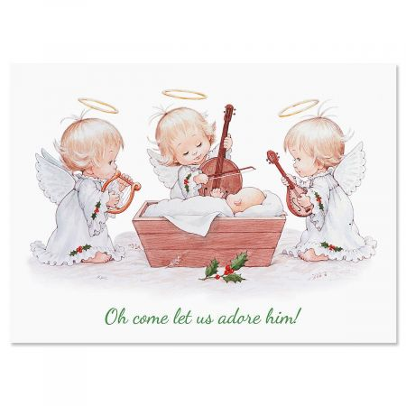 Angels Rejoice Nonpersonalized Christmas Cards - Set of 18