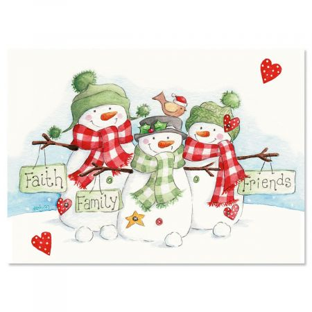 Snowmen Trio Nonpersonalized Christmas Cards - Set of 72