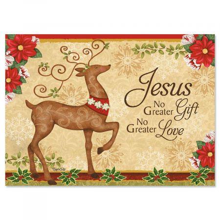 Reindeer Religious Christmas Cards