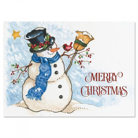 Snowman & Sweet Bird Nonpersonalized Christmas Cards - Set of 72