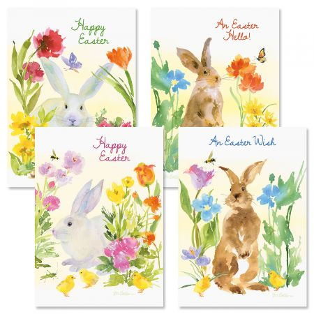 Easter Bunny Watercolor Easter Cards