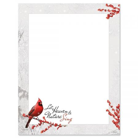 Winterberry Cardinal Christmas Letter Papers