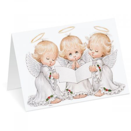 Angel Trio Nonpersonalized Christmas Cards - Set of 18