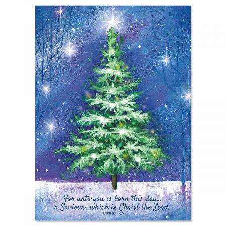 Winter Tree Personalized Christmas Cards - Set of 72
