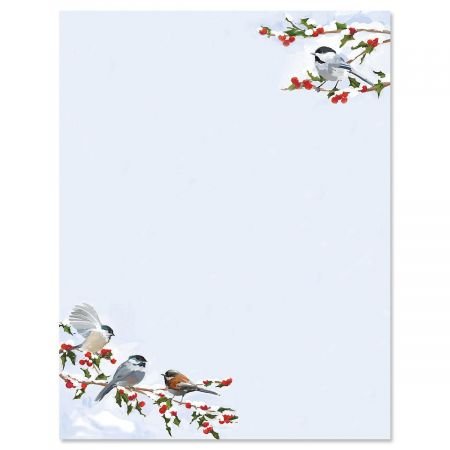 Chickadee Berry Christmas Letter Papers