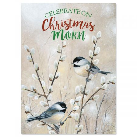 Chickadees and Pussy Willow Nonpersonalized Christmas Cards - Set of 18
