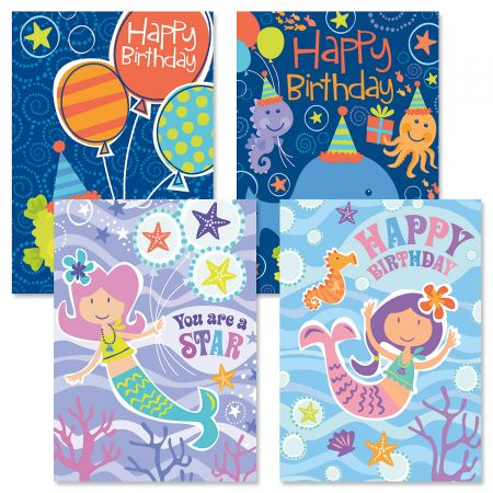 Under the Sea Kids' Birthday Cards and Seals