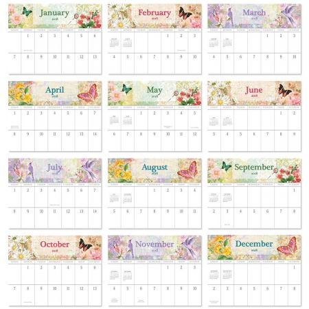 2018 Watercolor Garden Big Grid Calendar with Pockets