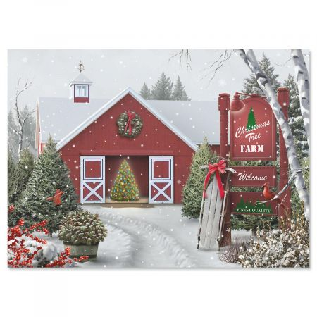 Tree Farm Personalized Christmas Cards - Set of 18