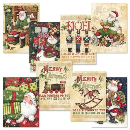Vintage Christmas Cards.Retro Santa Christmas Cards Value Pack