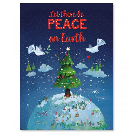 Let There Be Peace Personalized Christmas Cards - Set of 72