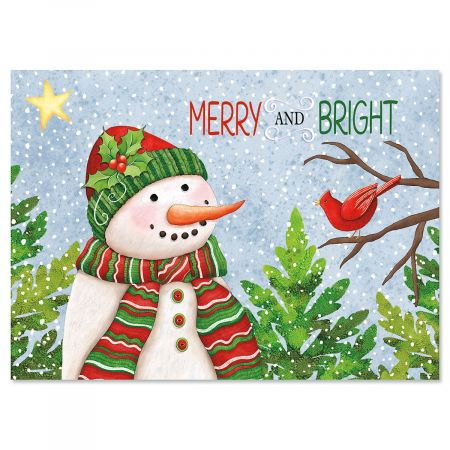 Snowman with Cardinals Nonpersonalized Christmas Cards