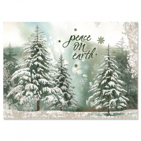 Peaceful Trees Nonpersonalized Christmas Cards