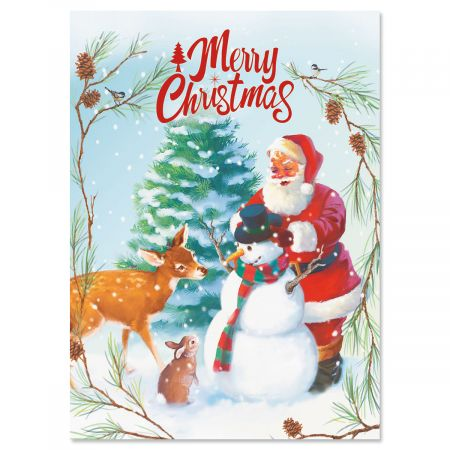Snowman, Santa and Deer Christmas Cards - Set of 18