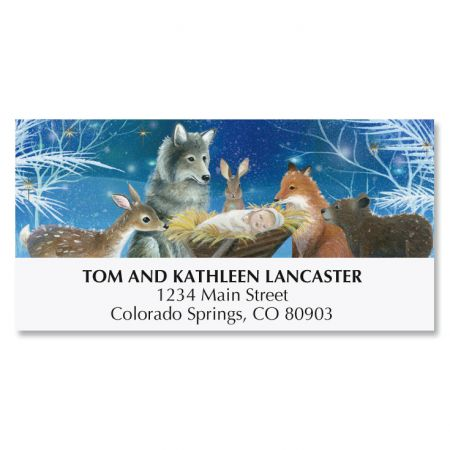 Forest Christmas Manger Deluxe Address Labels