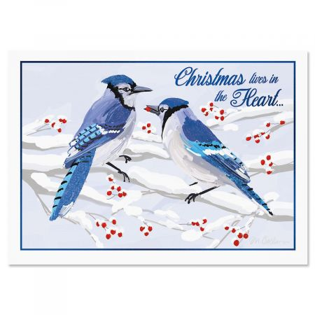 Winter Jays Nonpersonalized Deluxe Christmas Cards - Set of 56