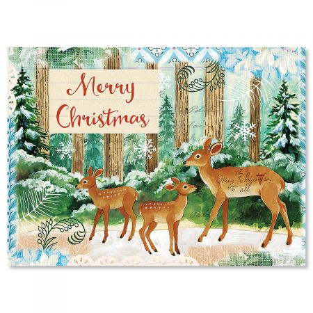 Deer Family Personalized Christmas Cards - Set of 18