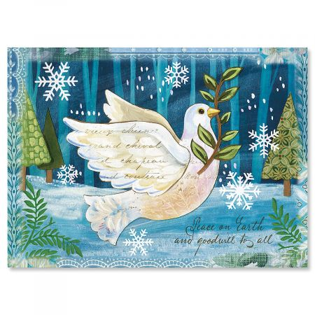 Peace Dove Nonpersonalized Christmas Cards - Set of 72