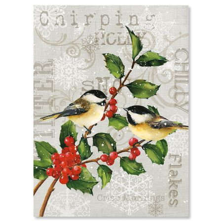 Chickadees and Holly Personalized Christmas Cards - Set of 72