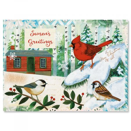 Winter Birds Nonpersonalized Christmas Cards - Set of 72