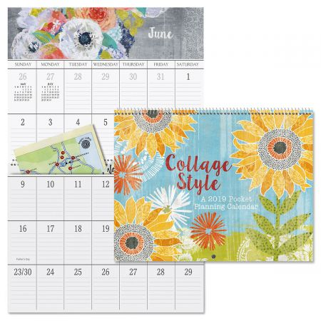 2019 Collage Style Big Grid Planning Calendar with Pockets