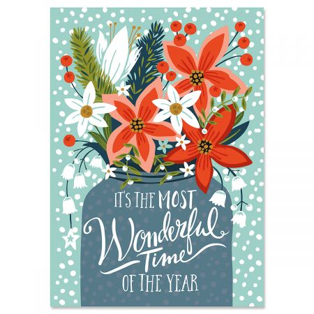 Poinsettia Christmas Cards - Personalized