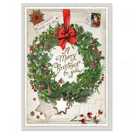 wreath collage christmas cards personalized - Collage Christmas Cards