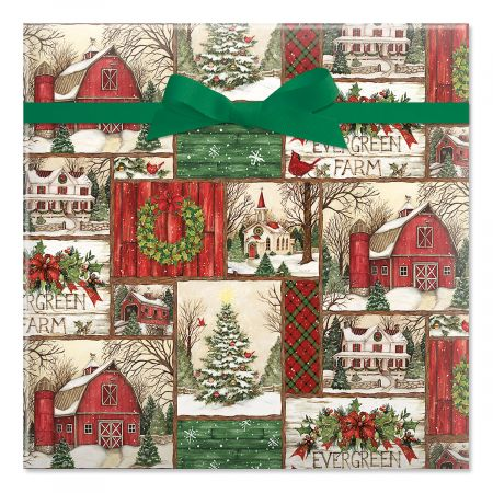 Evergreen Christmas Jumbo Rolled Gift Wrap