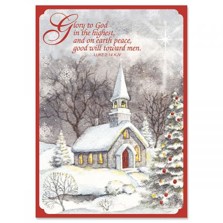 Religious Christmas Images.Snowy Church Religious Christmas Cards
