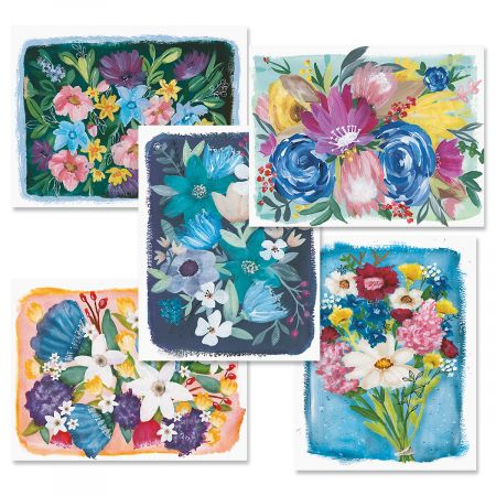 Painterly Flowers Note Cards