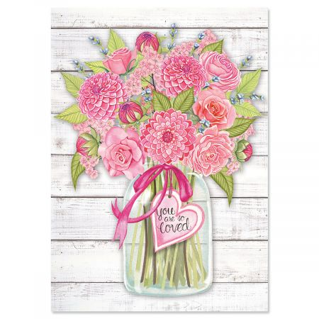Farmhouse Flowers Valentines Day Cards