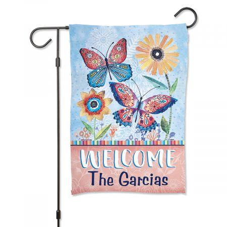 Butterflies Personalized Garden Flag