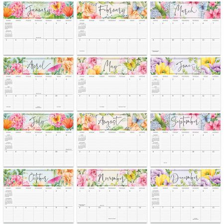 2020 Watercolor Garden Big Grid Planning Calendar
