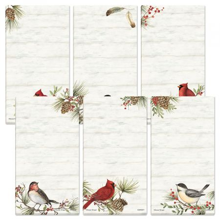Cardinal Woodland Magnetic Shopping List Pads Cardinals and friends add loads of holiday appeal to 12 unlined 30-sheet pads; 3 1/2  x 6 1/2 H in 6 designs (2 of each), with self-stick magnets. Set of 12 ©Susan Winget