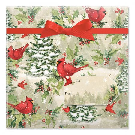 Tree Cardinal Jumbo Rolled Gift Wrap and Labels