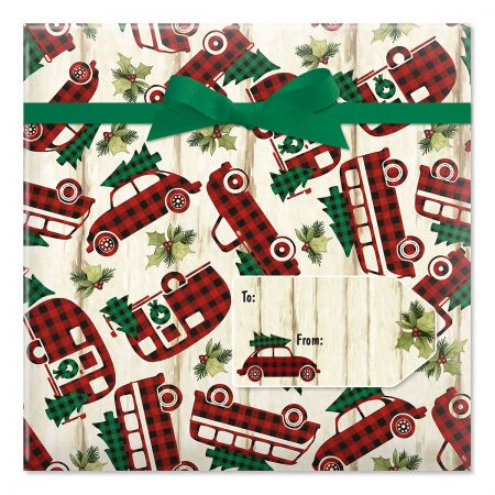 Buffalo Plaid Vehicles Jumbo Rolled Gift Wrap and Labels
