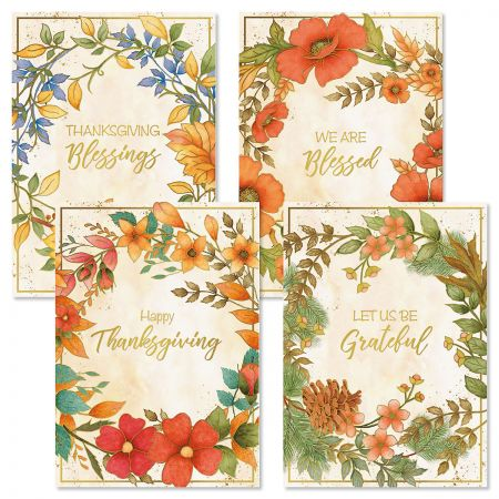 Deluxe Harvest Wreaths Thanksgiving Cards