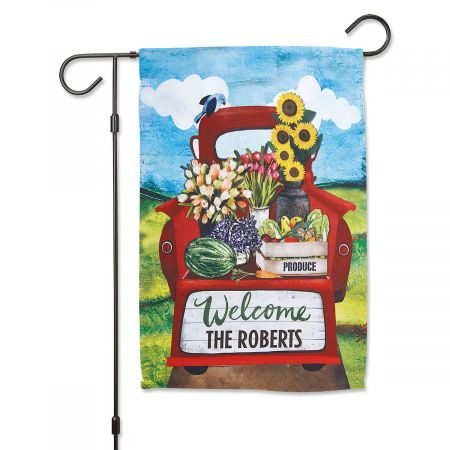 Red Truck Welcome Personalized Garden Flag Red Truck Welcome Personalized Garden Flag