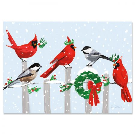Bird Fence Deluxe Foil Christmas Cards