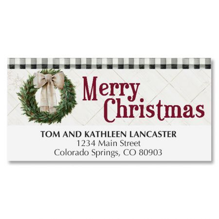 Checked Border Wreath Deluxe Address Labels