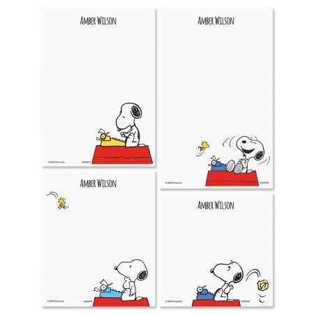 Snoopy's Typewriter Personalized Notepad Set