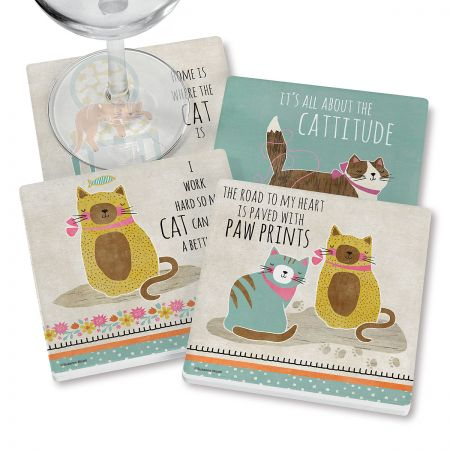 Crazy Cat Coasters Sassy set saves your furniture and your sanity. Glossy coated ceramic; absorbent cork bottom; 3 1/2  square. Set of 4 Suzanne Nicoll